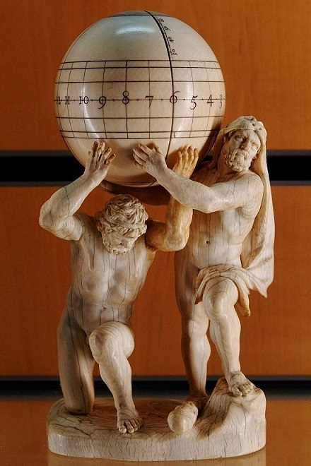 Atlas and Hercules Carrying a Sphere Ivory