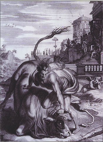 Heracles and Cretan Bull - Bernard Picart (1731)