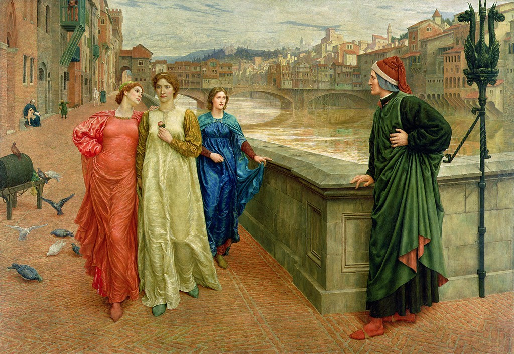 dante-and-beatrice-by-henry-holiday-dante-looks-longingly-at-beatrice-in-center-passing-by-with-friend-lady-vanna-red-along-the-arno-river