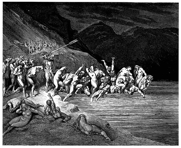 gustave-dores-illustration-to-dantes-inferno-plate-x-canto-iii-charon-herds-the-sinners-onto-his-boat-charon-the-demon-with-eyes-of-glede-beckoning